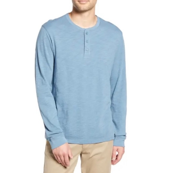 NWT Vince Blue Long Sleeve Slub Henley XL